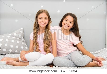 Happy Morning. Children In Pajamas. Stay At Home. Pajamas All Day. Cute Cozy Bedroom For Small Girls