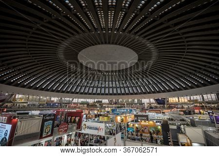 Belgrade, Serbia - Ocotber 25, 2019: Panorama Of The Interior Of The Hall 1 Of Belgrade Fair Ground,