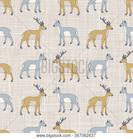 Seamless French Farmhouse Buck And Doe Pattern. Farmhouse Linen Shabby Chic Style. Hand Drawn Rustic