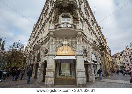 Prague, Czechia - November 1, 2019: Cartier Logo On Their Main Shop For Prague. Cartier Is A French