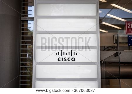 Prague, Czechia - October 31, 2019: Cisco System Logo In Front Of Their Office In Prague. Cisco Is A