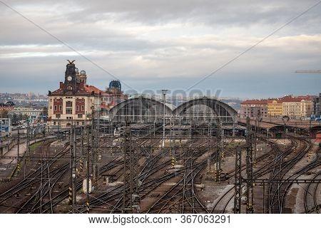 Prague, Czechia - November 2, 2019: Main Hall Of Prague Main Train Station, Praha Hlavni Nadrazi, Wi