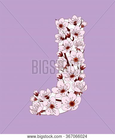 Capital Letter J Patterned With Hand Drawn Doodle Flowers Of Cherry Blossom. Colorful Vector Illustr