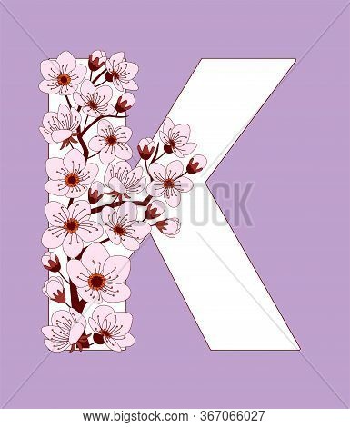 Capital Letter K Patterned With Hand Drawn Doodle Flowers Of Cherry Blossom. Colorful Vector Illustr