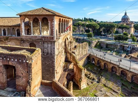 House Of Knights Of Rhodes On Forum Of Augustus, Rome, Italy. It Is Old Tourist Attraction Of Rome.