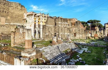 Forum Of Augustus In Summer, Rome, Italy, It Is Historic Tourist Attraction Of Rome. Urban Landscape