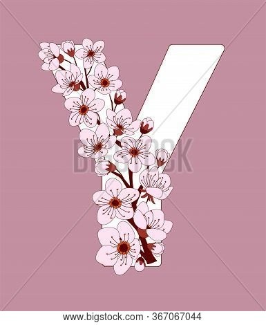 Capital Letter Y Patterned With Hand Drawn Doodle Flowers Of Cherry Blossom. Colorful Vector Illustr