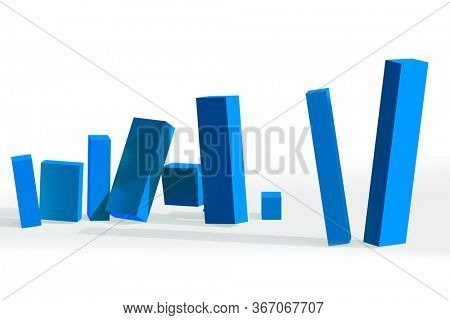 Collapsing bar charts in crisis - 3d rendering