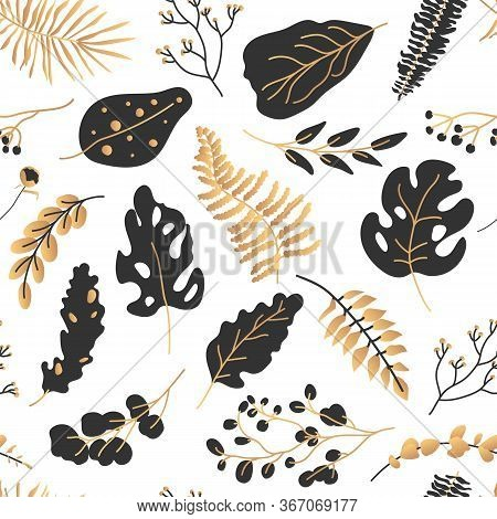 Gold Black Tropical Leaves Seamless Pattern. Abstract Limitless Background With Exotic Floral Flat C