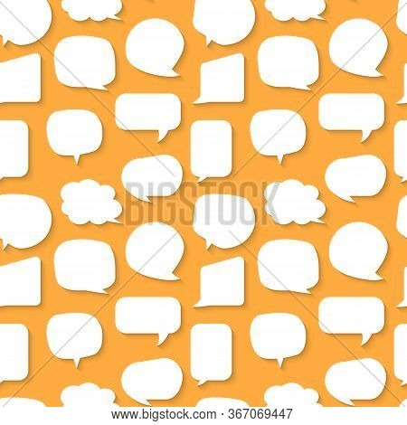Speech Soap Bubble Seamless Pattern. Limitless Orange Background With White Flat Cartoon Talk, Messa
