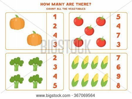 How Many Vegetables Are There. Counting Game For Kids. Educational Worksheet For Preschoolers. Count