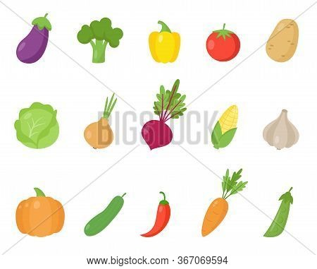 Set Of Colorful Cartoon Vegetables. Vector Illustration Of Eggplant, Broccoli, Pepper, Tomato, Potat