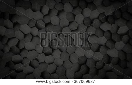 minimalistic geometric black background with low poly geometric hexagon shapes. 3d render. nobody around, landscape format.