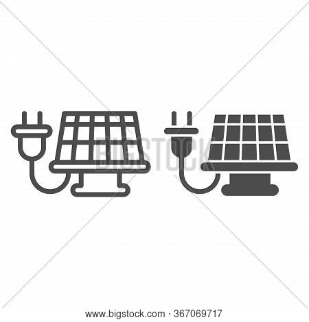 Solar Cell Panel And Plug Line And Solid Icon, Smart Home Symbol, Alternative Green Energy Vector Si