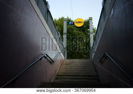 Buenos Aires, Argentina - January, 2020: Entrance To The Subway Buenos Aires Metro Also Known As Sub