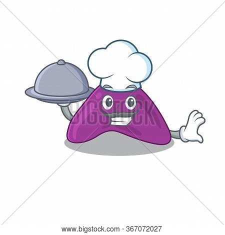 Mascot Design Of Adrenal Chef Serving Food On Tray