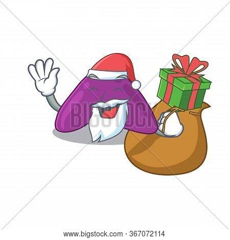 Cartoon Design Of Adrenal Santa Having Christmas Gift