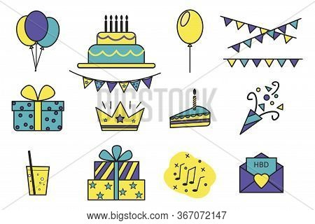 Vector Icons Of Birthday, Party. Flat Set Of Pictures Of Fun, Party, Cake, Gift, Hat. Stock Photo.