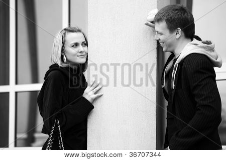 Young couple flirting