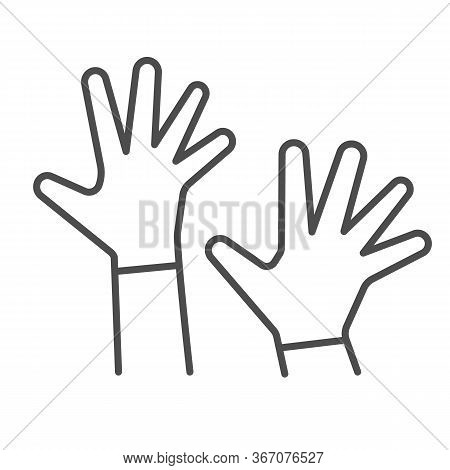 Children Hands Up Thin Line Icon, 1st June Children Protection Day Concept, Two Kids Palms In The Ai