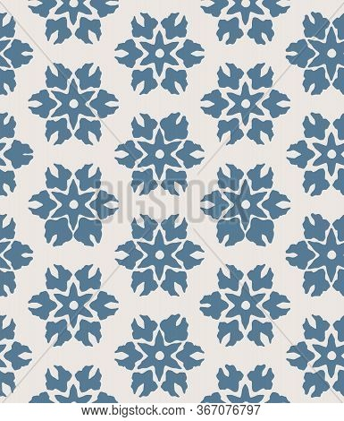 Blue Abstract Floral Seamless Vector Pattern Background With Stylised Flowers For Fabric, Wallpaper,