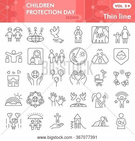 Children Protection Day Thin Line Icon Set, Child Safety Symbols Set Collection Vector Sketches. Kid