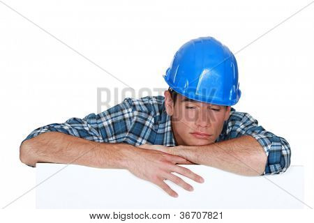 Sleepy construction worker