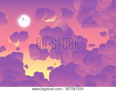 Sky Scenery Landscape, Birds Flying Through The Sun And Clouds In The  Sky In Twilight Time, Orange
