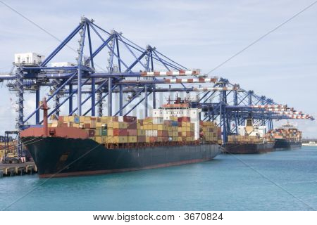 Cargo Container Ship At Port