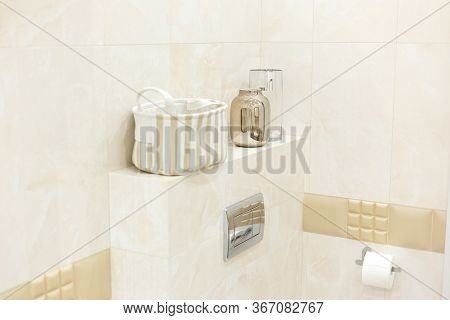Laundry Basket, Two Decorative Bottles From The Mirror. Toilet Room, Toilet Flush Button, Toilet Pap