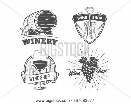 Wine Shop Badges. Set Of Vintage Logos For Wine Shop Or Winery. Vector Black And White Stickers With