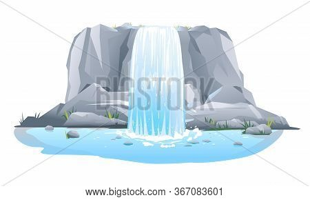 River Waterfall Falls From Cliff In Front View Isolated Illustration, Picturesque Tourist Attraction