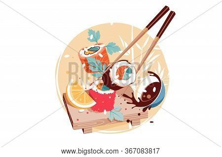Delicious Fresh Chinese Cuisine Illustration. Yummy Sushi On Wooden Board Flat Style. Chopstick For