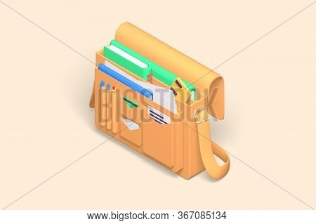 3d Render Modern Toolbox Documents Icon For Work Equipment, Paperwork. Isometric Concept Bag For Car