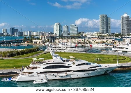 Miami, Fl, United States - April 28, 2019: Luxury Yachts Lumiere Ii Docked In The Port Of Miami, Flo