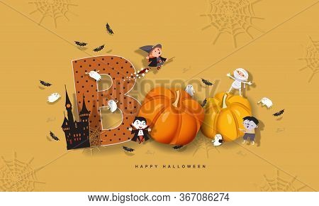 Halloween Boo, Funny Inscription With Pumpkins, Witch, Mummy, Zombie, Vampire, Castle, Bats, Ghost.