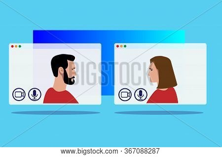 Video Call Conference, Working From Home, Social Distancing, Business Discussion. For Website Design