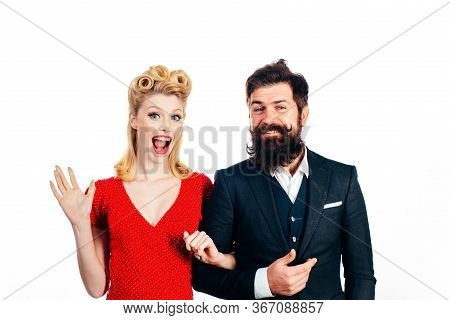 Retro Couple Over White Background, Isolated. Vintage Lovely Couple, 30s Style. Well-dressed Retro C