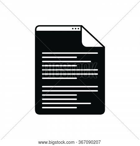 Black Solid Icon For Scenarios  Script Document Letter Manuscript Certificate