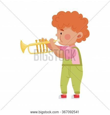 Red Haired Little Boy Playing Trombone Vector Illustration