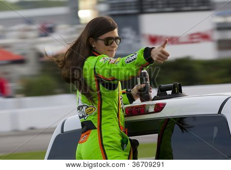 ATLANTA, GA - SEP 02, 2012:  Danica Patrick (10) waves to the crowd before she races at the AdvoCare 500 at the Atlanta Motor Speedway in Hampton, GA.