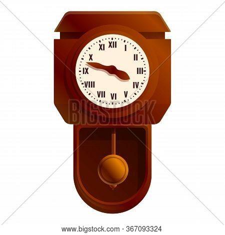Antique Pendulum Clock Icon. Cartoon Of Antique Pendulum Clock Vector Icon For Web Design Isolated O
