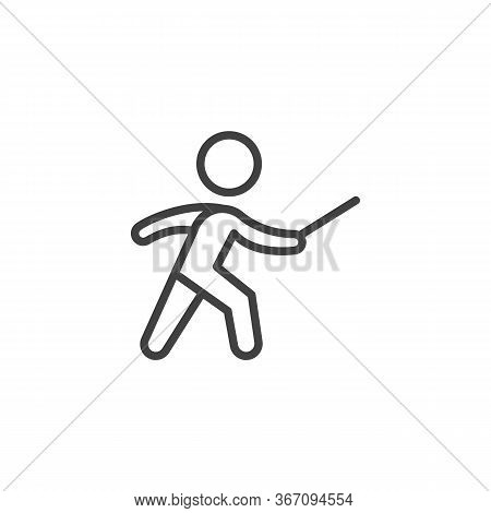Fencing Sport Line Icon. Linear Style Sign For Mobile Concept And Web Design. Fencer Man Outline Vec
