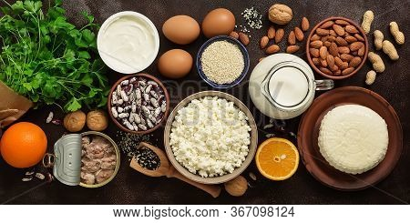 High Calcium Foods, Banner. A Variety Of Products Rich In Calcium. Top View, Flat Lay