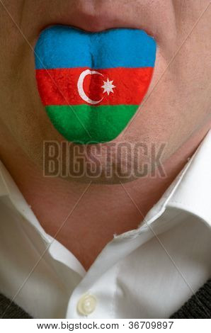 Man Tongue Painted In Azerbaijan Flag Symbolizing To Knowledge To Speak Foreign Language