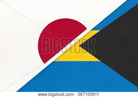 Japan And Commonwealth Of The Bahamas, Symbol Of Two National Flags From Textile. Relationship, Part