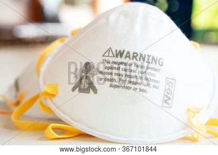 N95 Respiratorson White Background ,white Medical Mask Isolated. Face Mask Protection Against Pollu