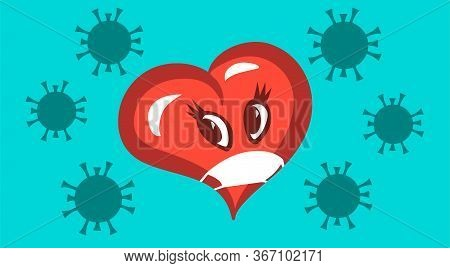 Symbolic Masked Heart And Coronavirus. Danger Of Kisses And Loving Hugs During A Pandemic. Vector Ca