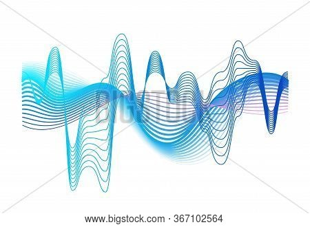 Colorful Realistic Sound Waves Amplitude Vector Graphic Illustration. Colored Gradient Digital Equal