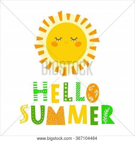 Hello Summer - Hand Drawn Inscription, Typography Poster With Inspirational Phrase. T-shirt, Greetin